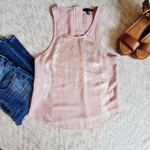 American eagle blush sequin sheer tank top
